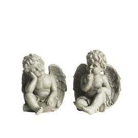 Set of 2 Distressed Gainsboro Gray Sitting Cherub Angels Outdoor Patio Garden Statues