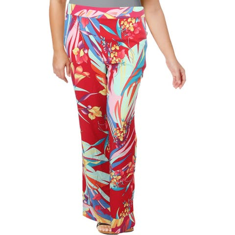 Basler Womens Wide Leg Pants Floral Pull On - Red Multi