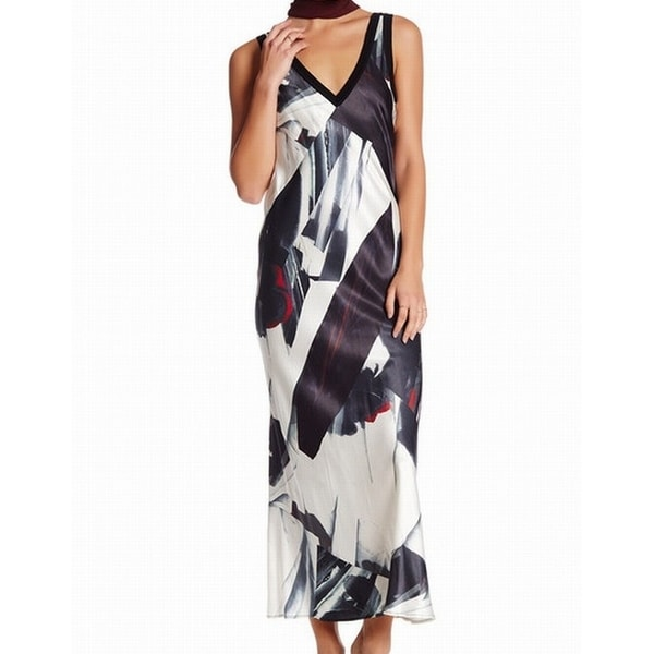 3d38e646998451 Shop DKNY NEW Black Printed Women s Size Large L V-Neck Maxi Slip ...