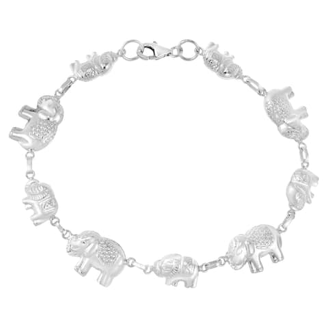 Handmade Majestic Royal Thai Elephants Linked Sterling Silver Charm Bracelet (Thailand)