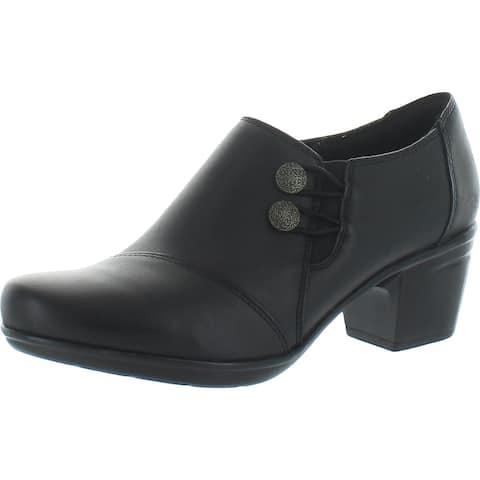 Clarks Women's Emslie Warren Leather Ortholite Block Heel Pump Ankle Bootie - Black