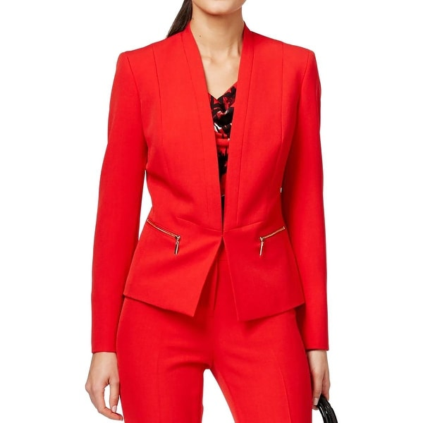 Kasper Womens Collarless Blazer Crepe Zipper Pocket