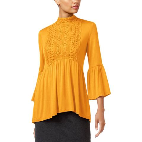 John Paul Richard Womens Pullover Top Office Wear Crochet Front