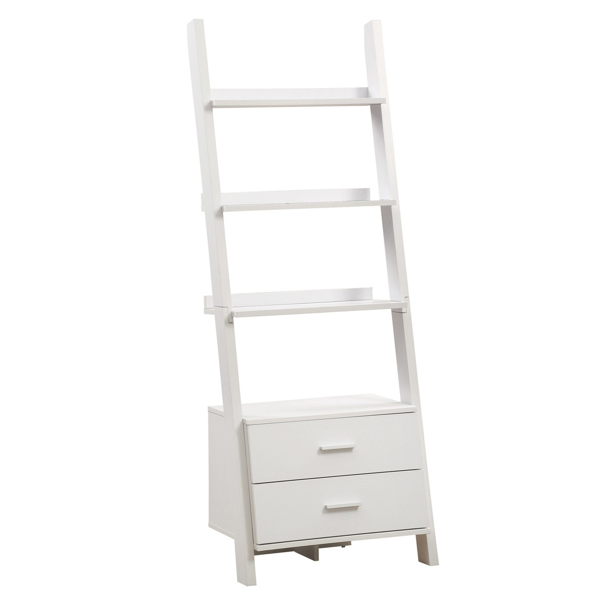 on sale e3f2b 3b2b8 Monarch Specialties I 2562 69 Inch Tall Ladder Shelving Unit with 2 Drawers  - White