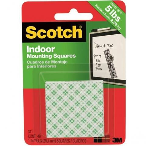 """Scotch 311DC Heavy Duty Indoor Mounting Square Tape, 1"""" x 1"""", White, 48-Count"""