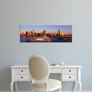 Easy Art Prints Panoramic Image 'Panoramic view of Navy Pier and Chicago skyline at sunrise, Chicago, IL' Canvas Art