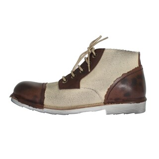 Dolce & Gabbana Dolce & Gabbana Brown Beige Leather Linen Ankle Boots - eu44-us11