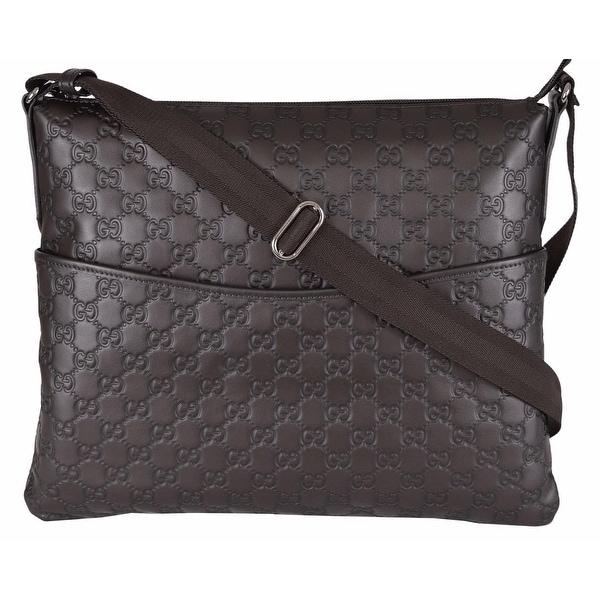 07328fe1cbb2 Shop Gucci 374411 Large Brown Leather GG Guccissima Crossbody Messenger  Purse Bag - Free .