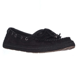UGG Drina Beaded Bow Moccasin Flats, Black