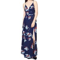 Fame And Partners NEW Blue Women's Size 6 Floral Print Slit Maxi Dress