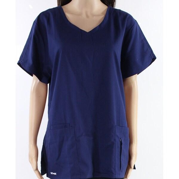 Shop Grey S Anatomy Navy Blue Womens Size Xl V Neck Scrubs Knit Top