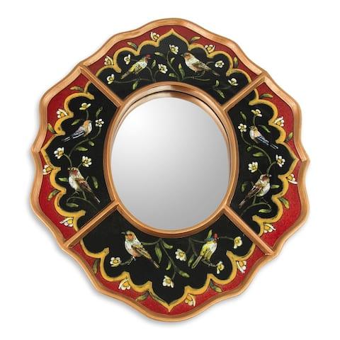 "Handmade Songbirds On Ruby Reverse Painted Glass Mirror (Peru) - 5.0 "" W x 6.75"" H"