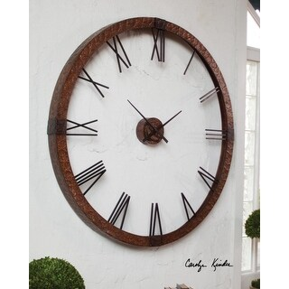 """60"""" Large Industrial Roman Numeral Copper Wall Clock"""