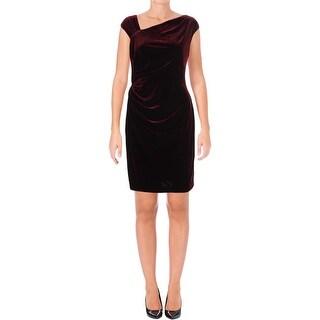 Lauren Ralph Lauren Womens Petites Cocktail Dress Velvet Above Knee