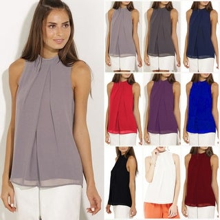 Pleated Sleeveless Chiffon Top