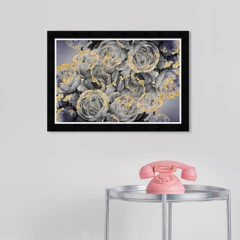 Wynwood Studio 'Rose Dove' Floral and Botanical Wall Art Framed Print Florals - Gray, Gold