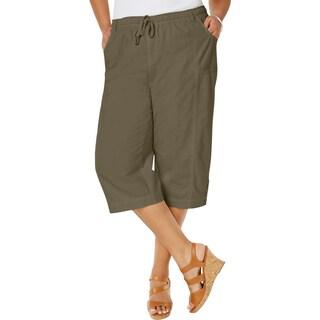 Karen Scott Womens Plus Capri Pants Drawstring Comfort Waist