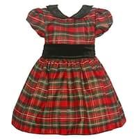 Jayne Copeland Baby Girls Black Red Plaid Velvet Sash Christmas Dress