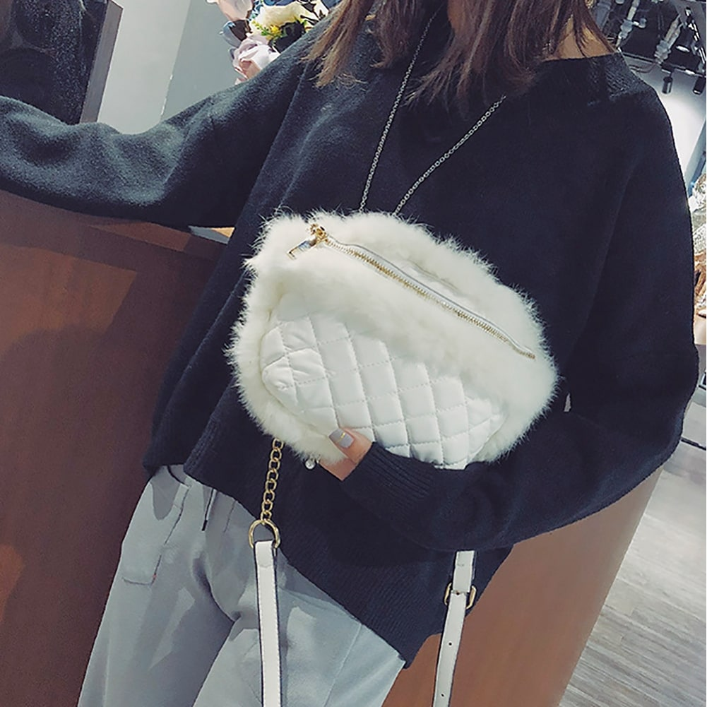 9cebba0fe987 QZUnique Women's Faux Fur Rhombus Pattern Waist Bag Handbag Zipper  Crossbody Shoulder Purse