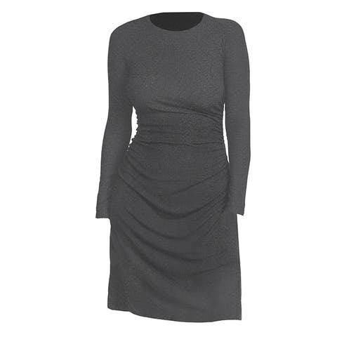 Theory Womens Long Sleeve Gray Stretch Dress