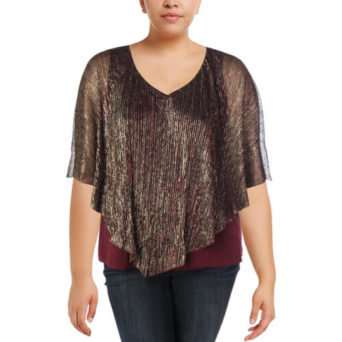 Connected Apparel Womens Plus Blouse Metallic Overlay