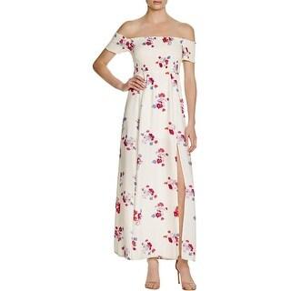 Minkpink Womens Falling Blooms Maxi Dress Smocked Off-The-Shoulder