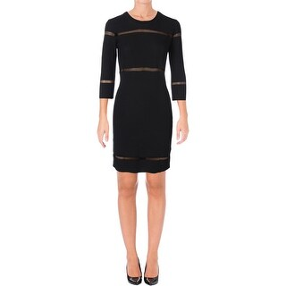 French Connection Womens Danni Bodycon Dress Ladder Stitch Long Sleeves