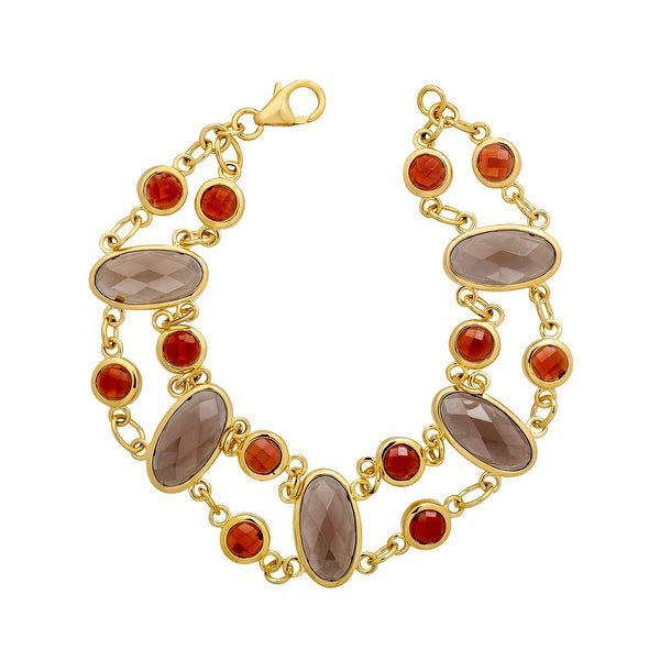 11 ct Natural Smoky Quartz & Garnet Bracelet in 14K Gold-Plated Sterling Silver