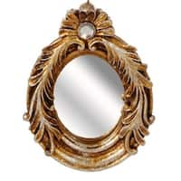 "5.25"" Distressed-Finish Antique Gold Glitter Finial Mirror with Scroll Accents Christmas Ornament"