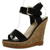 Dbdk Sofiana-3 Womens Comfort Single Band Ankle Starp Platform Wedge Sandals