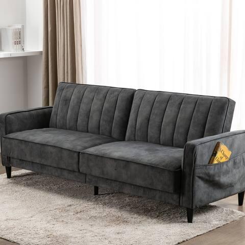 TiramisuBest Convertible Sofa Bed, Modern Tufted Velvet Fabric Sofa