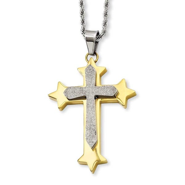 Stainless Steel Gold-plated Laser Cut Cross Pendant 24in Necklace (2 mm) - 24 in