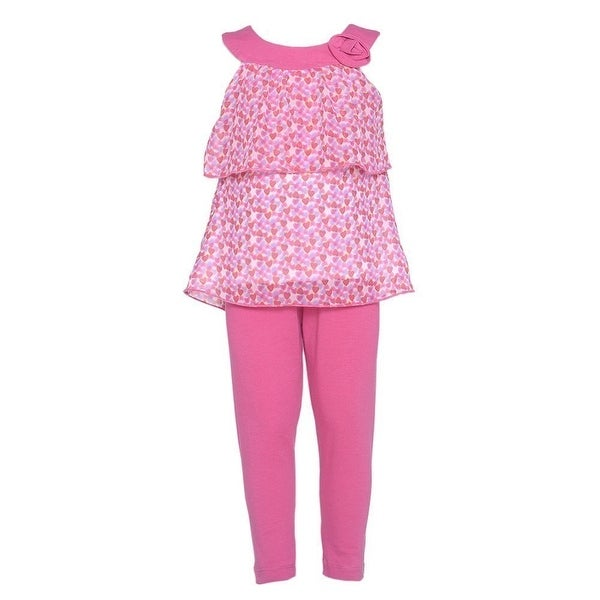 Girls 12M Cute Pink Heart 2pc Sleeveless Top Leggings Spring Outfit