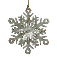 "6.75"" Urban Nature Distressed Grey and Silver Double Layer Snowflake Christmas Ornament"