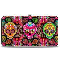 Six Sugar Skulls Multi Color Hinged Wallet - One Size Fits most