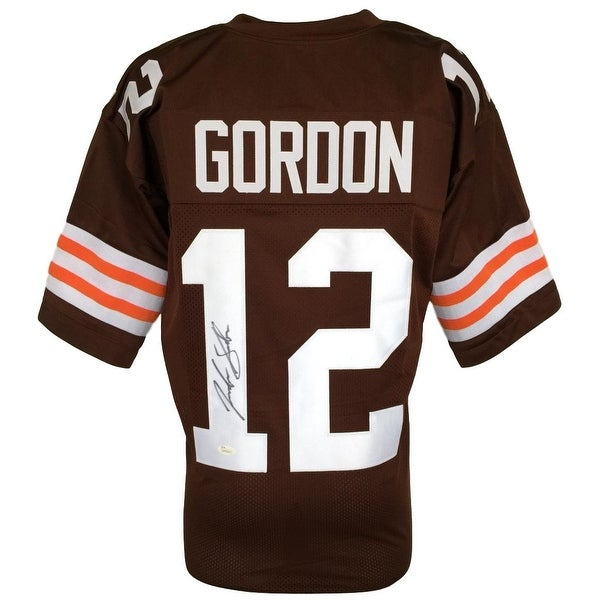 low priced 2c56b 9d6c9 Josh Gordon Signed Custom Brown Pro-Style Throwback Football Jersey JSA