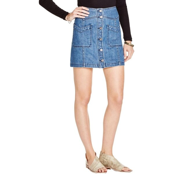 Free People Womens Denim Skirt Chevron Pockets Button Down