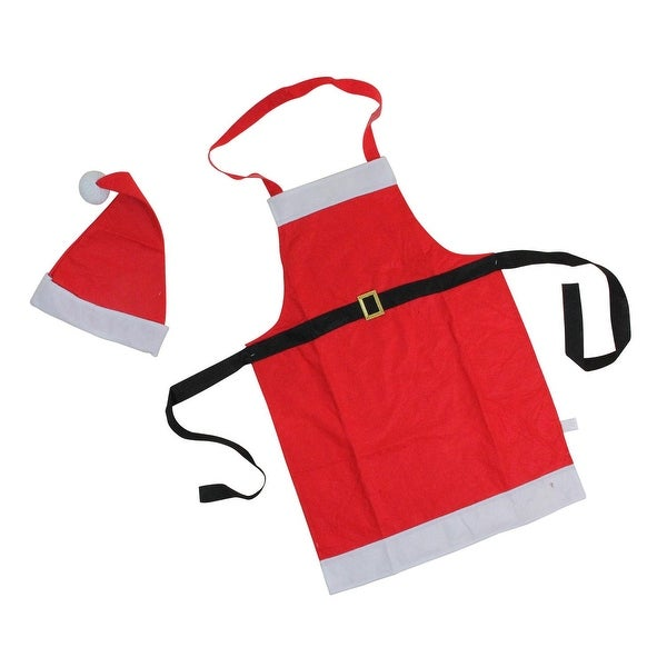 2-Piece Red and White Santa Claus Christmas Apron and Hat Set - Adult One Size Fits Most