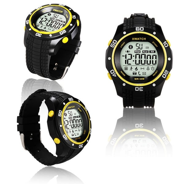 Indigi® Bluetooth 4.0 Sport Waterproof X-Watch + Call/SMS Notification + StopWatch + Pedometer + 1 Year Battery (Yellow)