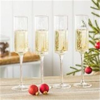 8 oz Oh What Fun Gold Dot Contemporary Champagne Flutes - Set of 4