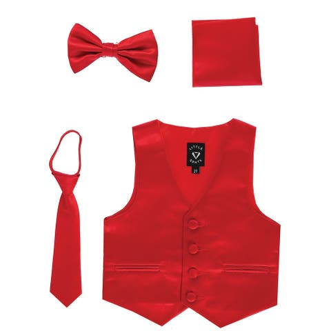 Lito Baby Boys Red Satin Vest Zipper Tie Hanky Bowtie Clothing Set 6-12M - 6-12 Months