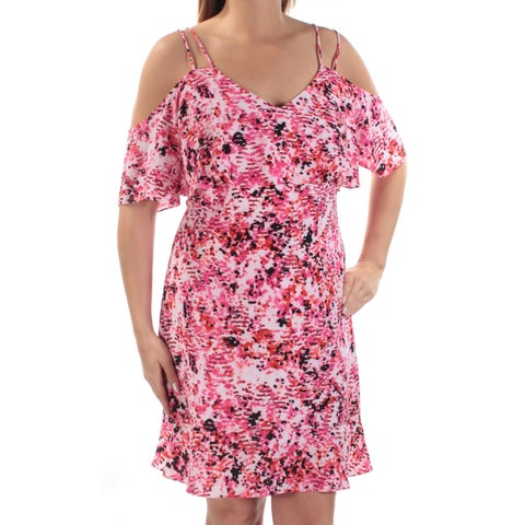 JESSICA HOWARD Womens Pink Printed Short Sleeve V Neck Above The Knee Shift Dress Size: 14