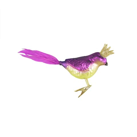 "8"" Purple Glass Bird with Crown Clip-On Christmas Ornament"