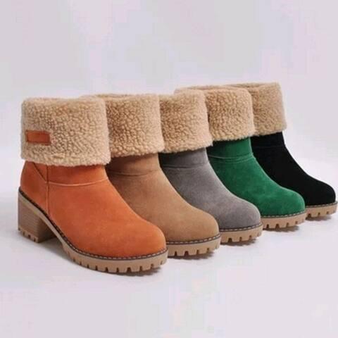 New Women Boots Winter Outdoor Keep Warm Fur Boots Waterproof Women's Snow Boots Thick Heel