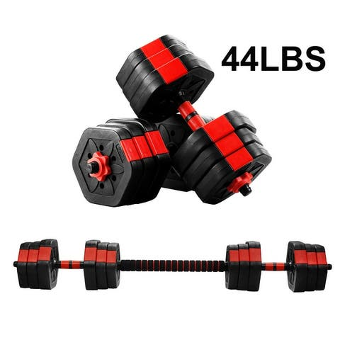 Ainfox 2 in 1 Adjustable Dumbbell Set 33/44/66 Lbs Gym Workout Dumbbell Set with Connecting Rod