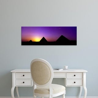 Easy Art Prints Panoramic Images's 'Silhouette of pyramids at dusk, Giza, Egypt' Premium Canvas Art