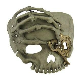 Beige Steampunk Pirate Skull w/Skeletal Hand Adult Half Face Mask