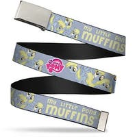 Blank Chrome Buckle My Little Pony Muffins 7 Stacked Poses Gray Yellow Web Belt