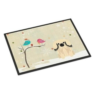 Carolines Treasures BB2578MAT Christmas Presents Between Friends Pekingnese Cream Indoor or Outdoor Mat 18 x 0.25 x 27 in.