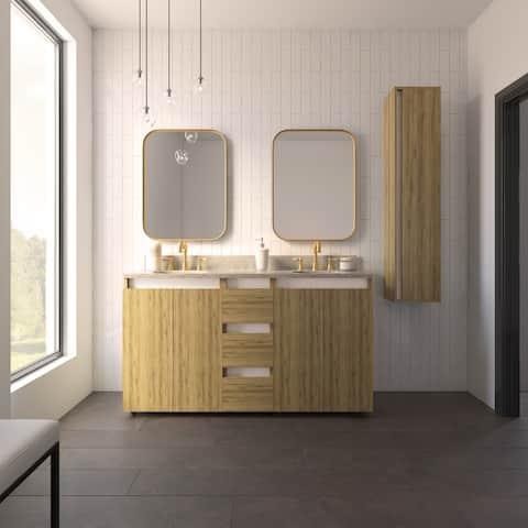 """Tennesse 60"""" Vanity Base Cabinet Ginger Oak Wood 60 X 33,5 X 21,5 In - Ginger Oak"""